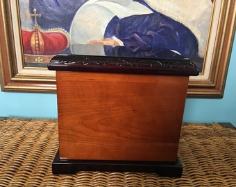 Wooden urn box would accommodate two lined mint unused