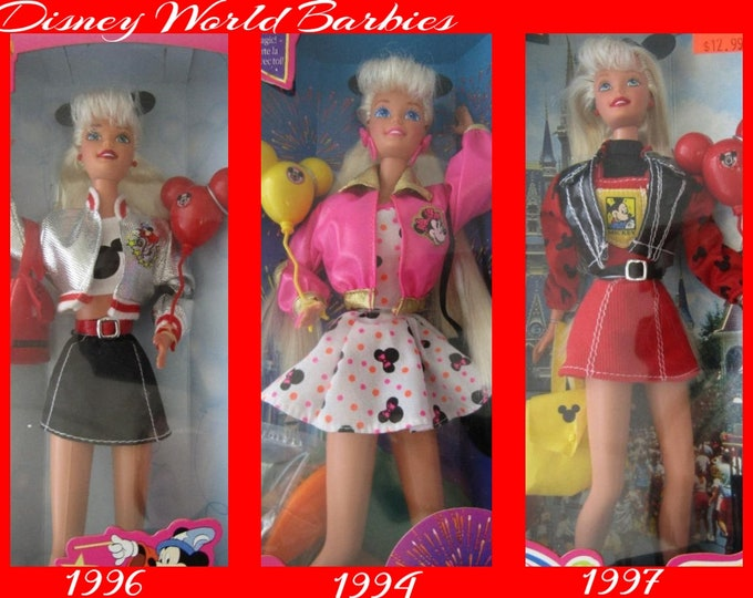 Disney World Barbies, Set of Three, 1994, 1996 and 1997,  in the original unopened box, With reduced Shipping