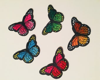 3 inch by 1.75 inch Butterfly Embroidered Iron on Patches price for one set/5 pcs
