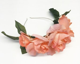 Peach Rose Flower Crown with Leaves