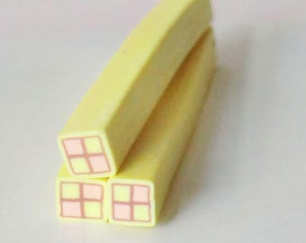 1 x cake pink/yellow polymer clay cane