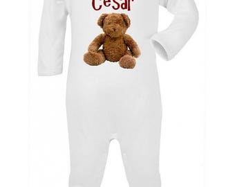 Pajamas baby Teddy bear personalized with name