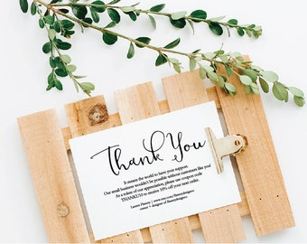 thank you card, business thank you card, discount card, diy editable pdf, printable, instant download