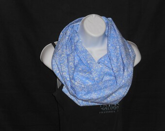 Light Blue with White Birds on a Branch Infinity Scarf