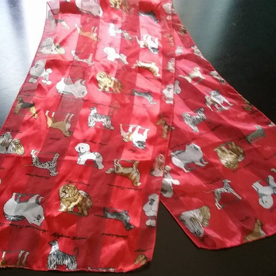 Women's Dog Print Scarf, Vintage Dog Scarf, Westminister Dog Breed Scarf, Red Dogs Print Scarf, Dog Print Fashion Accessory, Dog Breed Scarf