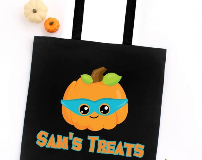 Halloween Trick or Treat Tote Bag, Pumpkin with Mask, CUSTOM NAME on Tote, Candy Treat Bag