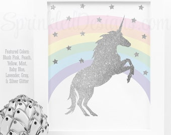 Printable Unicorn Sign, Silver Glitter Unicorn Birthday Party, Rainbow Unicorn Nursery Wall Art Printables, Little Girls Room Decorations