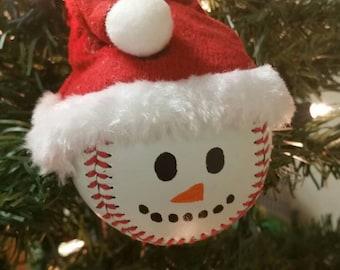 Baseball Snowman Christmas Holiday Handmade Ornament