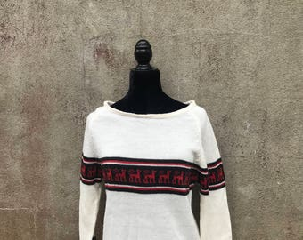Vintage Patterened Fully Fashioned Sweater Large