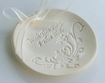 """Ceramic Ring Bearer Pillow, Porcelain wedding ring dish, wedding ring holder, Hand Built, """" With This Ring I Thee Wed"""", Ready to Ship"""