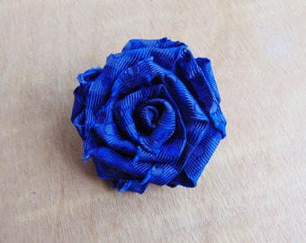 Upcycled Blue Rose Brooch, Fabric Flower Brooch