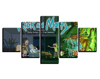 Canvas Paintings Living Room Wall Art 5 Pieces Rick And Morty Posters HD Prints Cartoon Abstract Pictures Home Decor