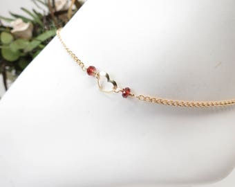 Heart Anklet, Birthstone Anklet In Gold Filled, 9-10.25 Inches Length, Custom Gemstone Anklet, Open Heart Jewelry