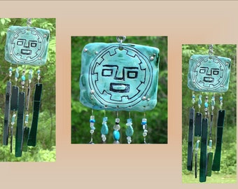 Incan Glass Wind Chime Turquoise Ceramic Tile Pachacuteq Pottery Chime Stained Glass Garden Suncatcher Hanging Decor