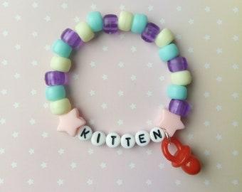 Pastel Blue White Purple Kitten Paci Singular Kandi Bracelet - Kawaii Lolita Decora Fairy Kei Pastel Goth Harajuku Fashion Cute JFashion
