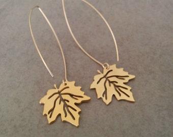 Gold Leaf Earrings, Leaf Earrings, Gold Earrings, Dangle Earrings, Bridal Earrings, Nature Earrings, Bridesmaid Gift, Canada Earrings