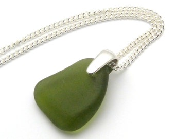 Sea Glass Necklace, Fern Green Sea Glass Pendant Necklace FERN