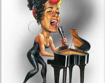 Don Howard's Depiction of Alicia Keys Celebrity Caricature