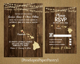 State of Hawaii Destination Wedding Invitations,Rustic,Wood,Gold Glitter Print,Strands of Lights,Opt RSVP Card,Customizable With Envelopes
