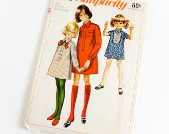 Vintage 1960s Girls Size 10 Shirt Dress Simplicity Sewing Pattern 7835 Complete / chest 28.5 waist 24.5