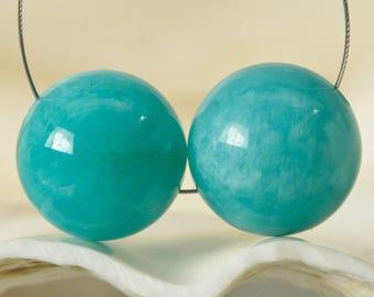 22.15 ct Peruvian AMAZONITE Beads Earring PAIR Smooth 11.90 mm Round Gemstones