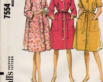 1964 VINTAGE McCALLS PATTERN. Robe. 7554 Size Medium 14-16 Bust 34-36