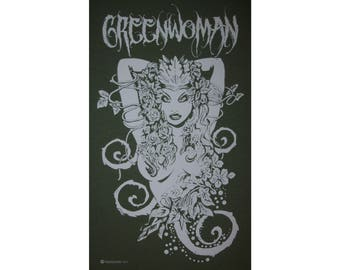 Greenwoman Sheela-Na-Gig Green Woman Goddess Celtic Druid T-Shirt WH