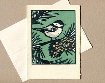 Chickadee Greeting Card - Saturn Press Chickadee Card - Great holiday card for a bird lover