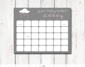 Printable Due Date Calendar Sprinkle/Shower with Love