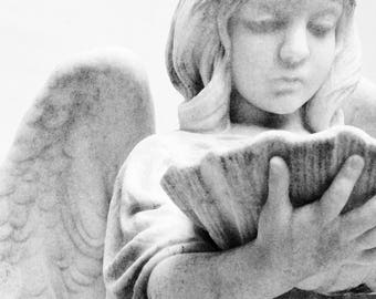 Angel Photograph, black and white photograph, cemetery art, black and white, angel