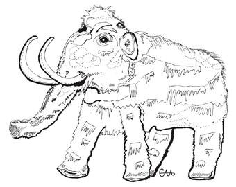 Julio the woolly mammoth illustration art print