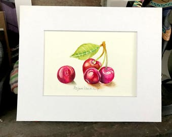 Cherries_2 ORIGINAL Watercolor 8x10 matted