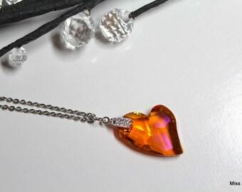 Swarovski elements orange heart necklace