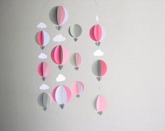 "Hot Air Balloon Baby Mobile ""Strawberry Milkshake"" - Pink Mobile - Whimsical Baby Girl Mobile - Baby Shower Gift - Cloud Mobile - New Baby"