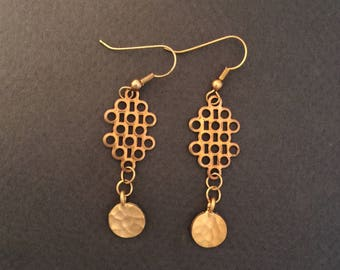 Brass with Gold Filled Ear Wire Dangle Earrings FREE SHIPPING