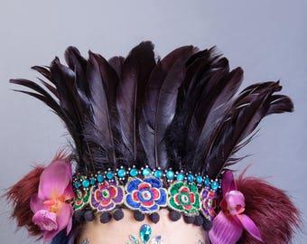 Festival Feather Headdress, Flower Crown, Pom-pom  Hairband