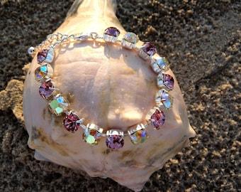 Swarovski Dual Color Vintage Rose and Jonquil  8mm 15 crystal bracelet, adjustable w/extension and lobster clasp