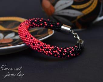 Elegant Seed bead crochet bracelet Black red jewelry Beaded Bohemian necklace Statement bracelet gift girlfriend ombre gradient friendship