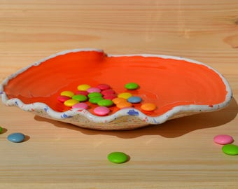 Piatto arancione Piatto porcellana Ceramica smaltata Pokutska Keramika