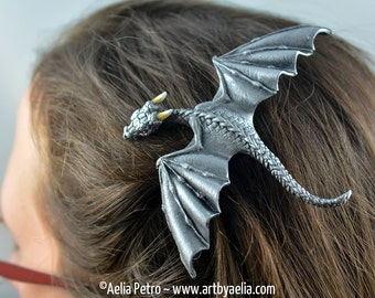 Custom Made Realistic Baby Dragon Hair Clip in Antique Silver PRE-ORDER