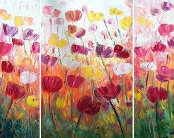 FLOWERS Large Painting TULIPS Original Artwork 48x36 Impasto Textured Canvas by Luiza Vizoli