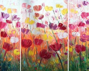 FLEURS grand tableau tulipes originale oeuvre 48 x 36 empâtement texturé toile de Luiza Vizoli