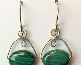 Malachite and sterling wire earrings