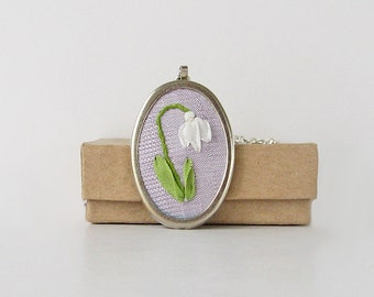 Snowdrop necklace, January birthday gift, silk ribbon embroidery jewelry, spring flower necklace