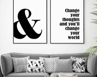 Change Your Thoughts, Change Your World, Quotes Printable, Set of 2 Prints, Affiche Scandinave, Inspirational Typography, Motivational Print