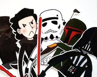 Dart Vader, Kylo Ren, Boba Fett, Stormtrooper, Empire 5 bookmarks set - Star Wars Force Awakens