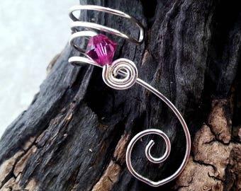Ear Cuff Pink Fuchsia Swarovski Crystal No Piercing, Valentine, Valentines Day Jewelry Ear Climber, Ear Vine, Elven Ear Cuff