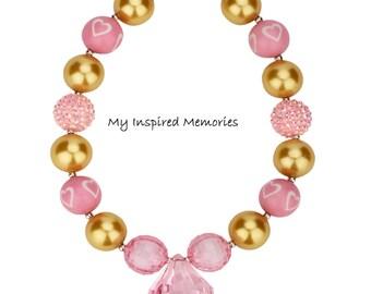 50% off sale-Valentines bubblegum necklace, pink gold bubblegum necklace