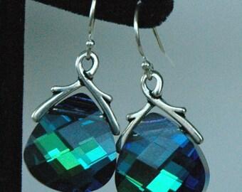 Large - Swarovski Crystal Aquamarine Green Sphinx Briolette Earrings, Bridesmaids Gift Set Jewelry Earrings