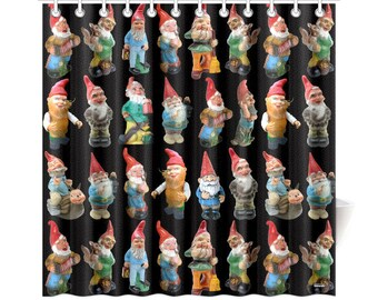 Vintage Garden Gnomes Shower Curtain - high res photos on novelty shower curtain - black white or dark teal background